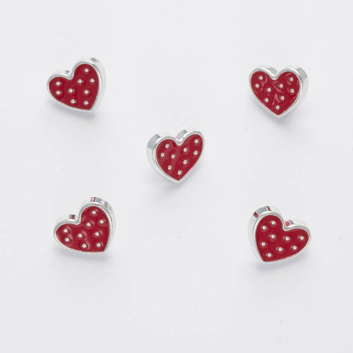 Red & Silver Trimmed Classy Love Heart Buttons, 12mm, shank on back, Per 5 Buttons ~