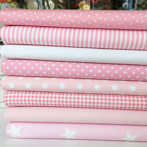 'Its a girl 'baby pink, 8 piece fat quarter bundle, pink & white, cotton fabric ~