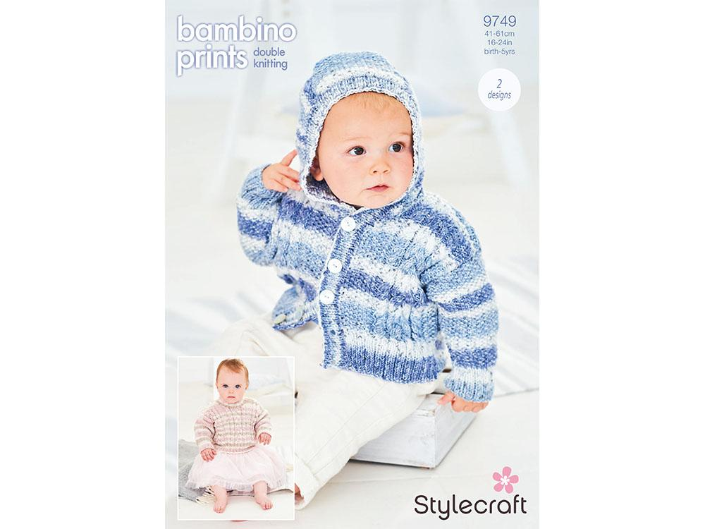 Stylecraft Bambino Prints Double knitting pattern Jumper & Hoodie - Pattern 9749