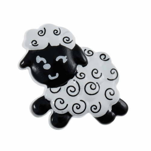 Wooly Sheep  buttons, black & white, Size 22 mm, shank on back sold per 5 buttons