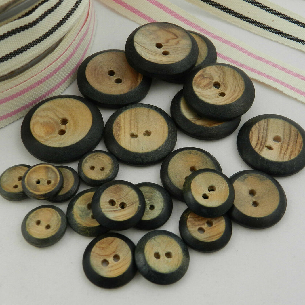 Stylish Wooden, Burnt Rim, Buttons, 10, 12, 18, 20, 22, 25, 28, 30 & 35mm diameter, Pack of 5 ~