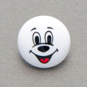 Children's Casper happy face, Buttons, white background, 15mm, pack of 10