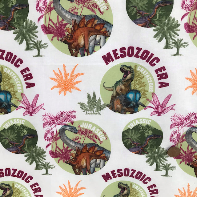Natural History Museum Dinosaur Eras 100% cotton fabric, sold per 1/2 metre, 112cm wide