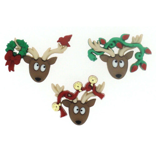 christmas deer buttons