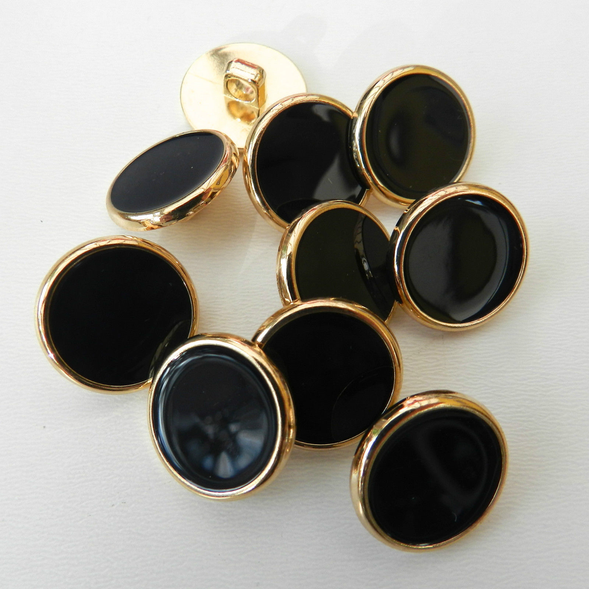 Dress Shirt Buttons, Navy Blue, with gold colour rim