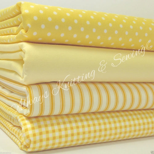 4 piece FAT QUARTER BUNDLE, lemon basics 100 % cotton fabric