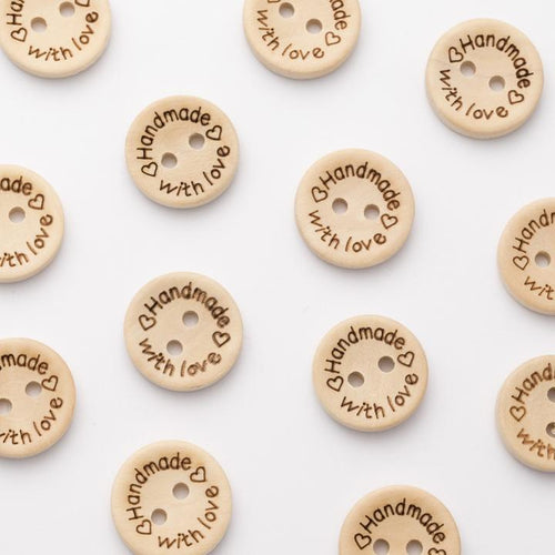 Handmade with love wooden  buttons 15mm or 20mm diameter, 2 holes sold per 5 buttons