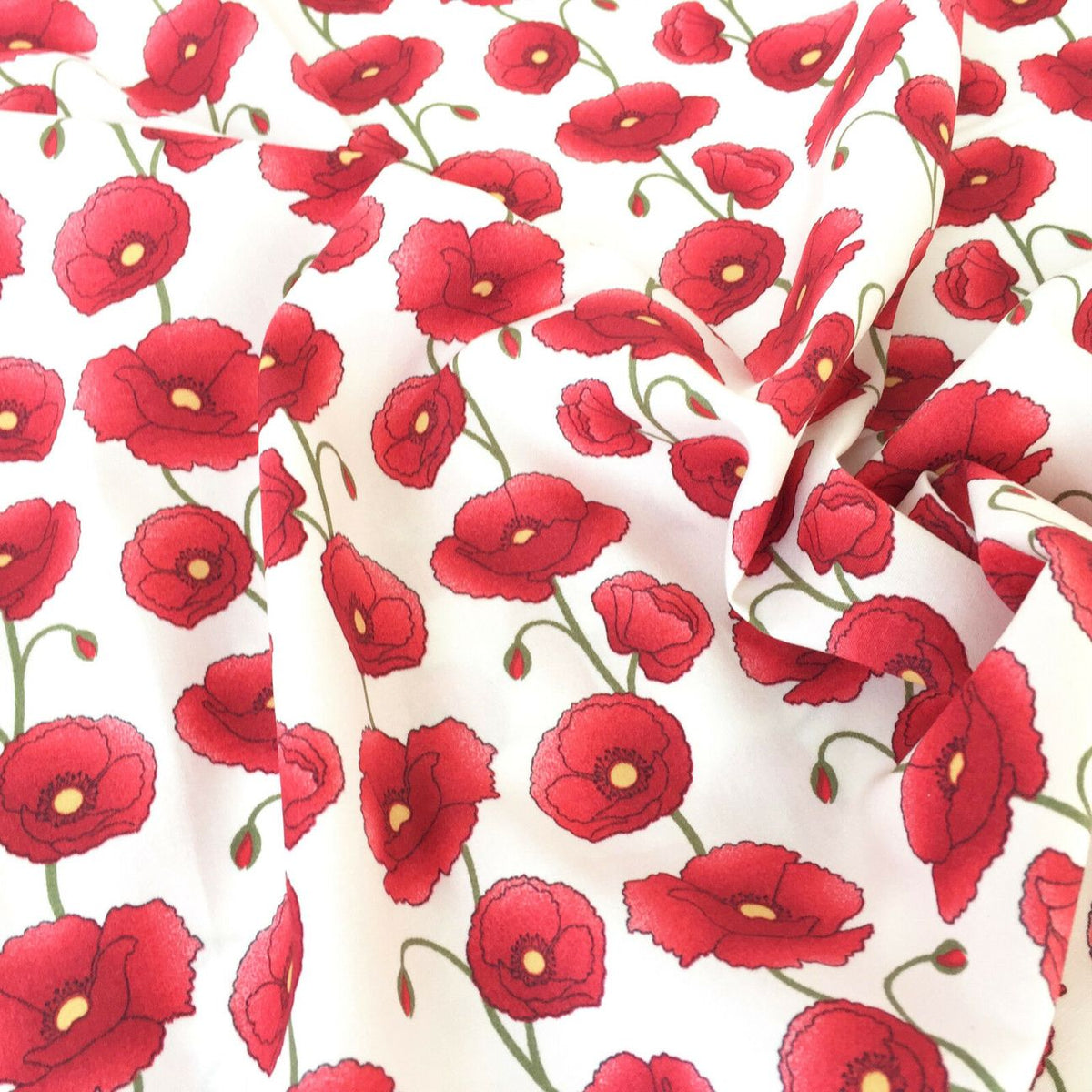 Centenary Poppies,  Ivory, 100% Cotton Fabric, sold per Half Metre, 112cm wide