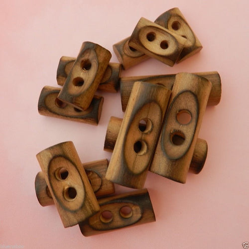 wooden toggle buttons burnt edge rectangle