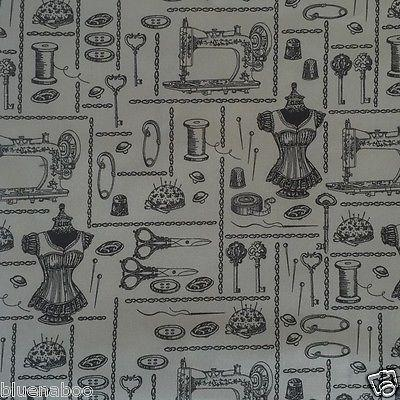 Retro Sewing Grey Buttons & Bobbins themed print, 100% Cotton poplin fabric sold per 1/2 metre