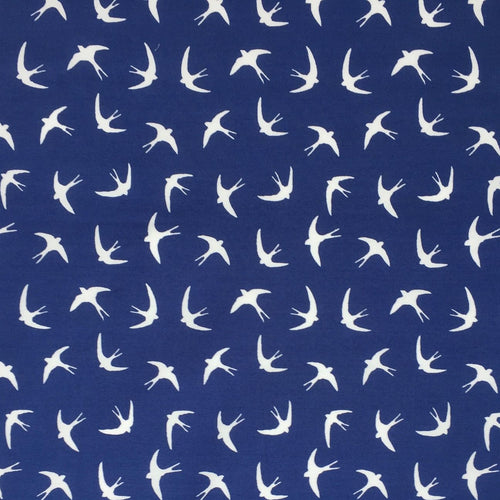 Royal blue  'Soaring Swallows' Bird themed 100% Cotton Fabric sold per Half Metre