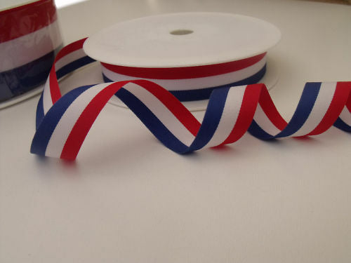 Red, White & Blue Ribbon, 15mm, 25mm & 40mm width, priced per two metres ~