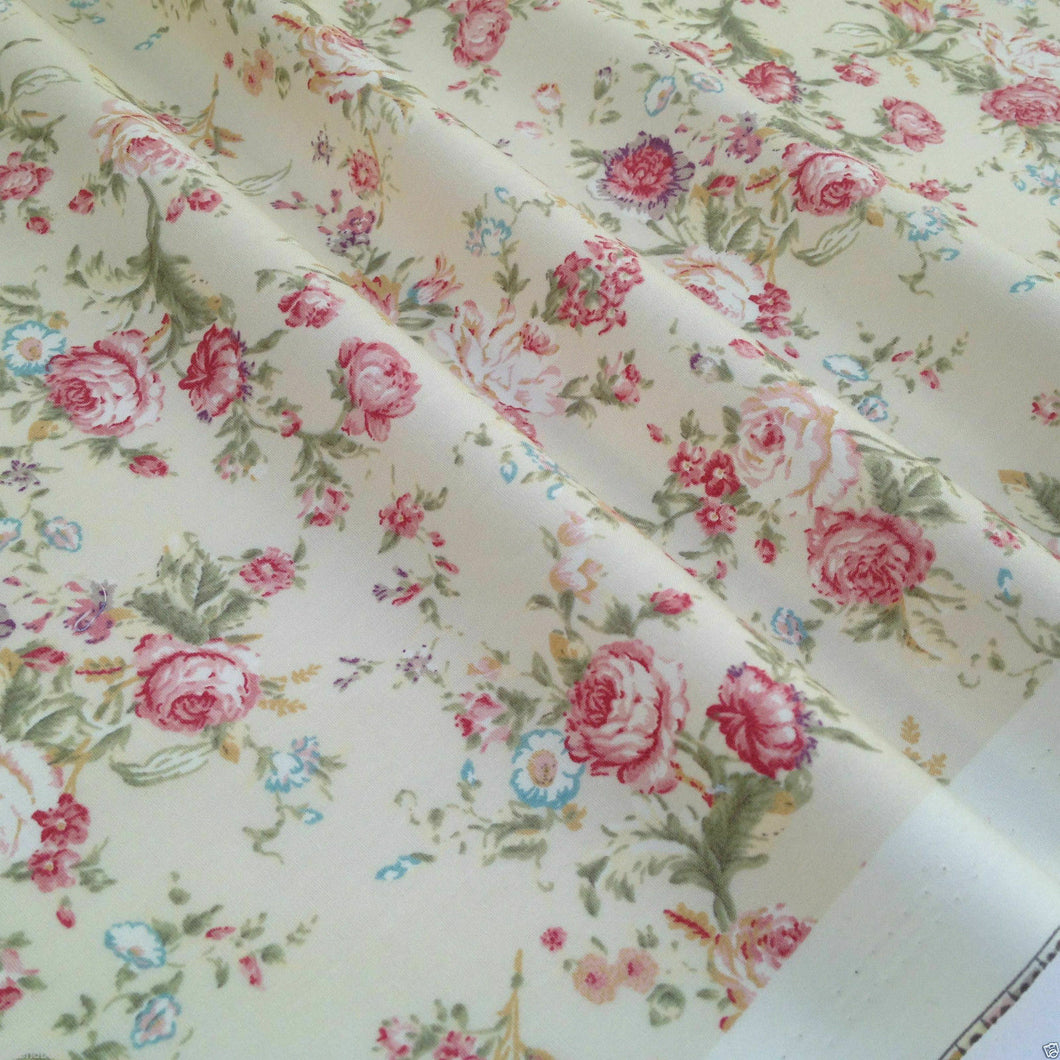 Cream Vintage Floral, Dressmaking 100% Cotton Fabric, per half metre