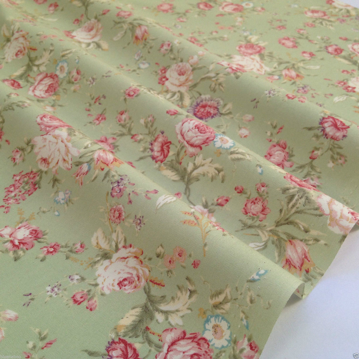 Green vintage floral, 100% Cotton Fabric per sold per half metre, 112cm wide