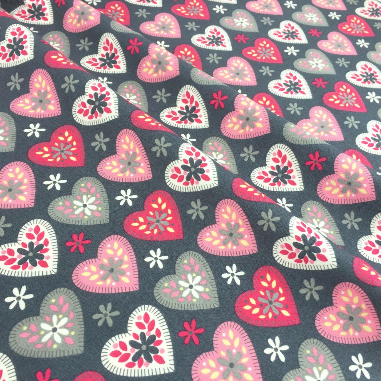 Rose & Hubble grey & pink love heart cotton fabric