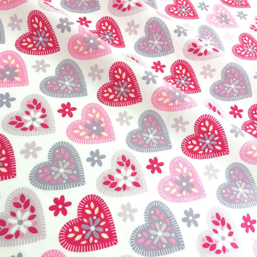 Pink & silver Summer Love Hearts, Valentines cotton fabric, sold per half metre, 112cm wide