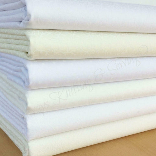 6 piece FAT QUARTER BUNDLE white/ivory subtle prints bundle cotton fabric ~