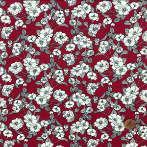 Freya floral red colour fabric, 100% cotton poplin fabric sold per half metre