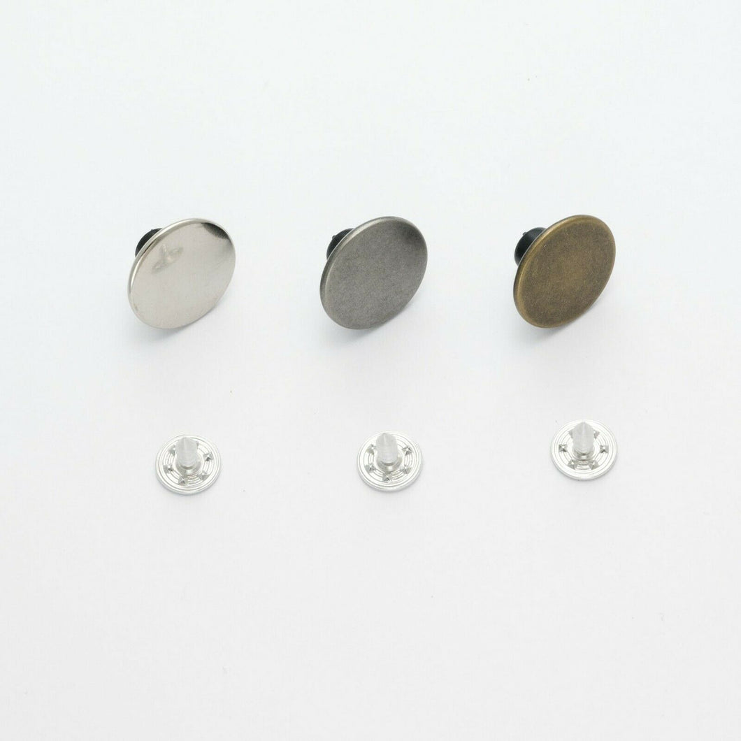 Plain Hammer on Denim Jean Buttons, Antique Silver or Gunmetal,  17mm, per 10 buttons ~