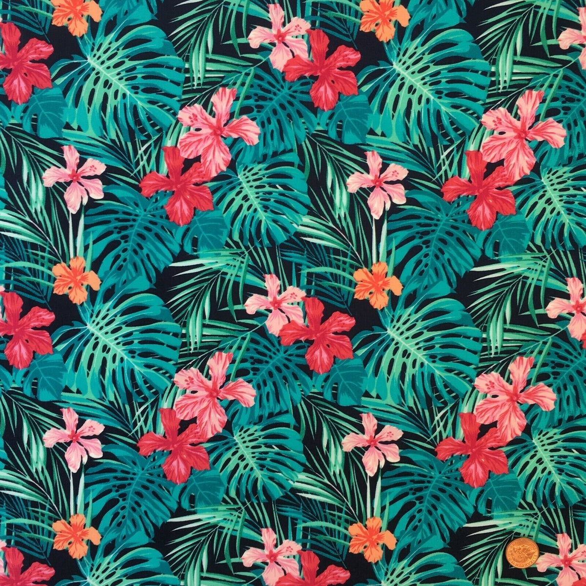 Navy/ fuschiaTropical  Floral design, 100% Cotton poplin Fabric, sold per half metre, 112cm wide