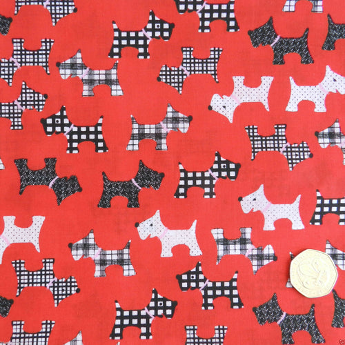 Red Christmas Scottie dog poly cotton fabric, sold per half metre, 112cm wide