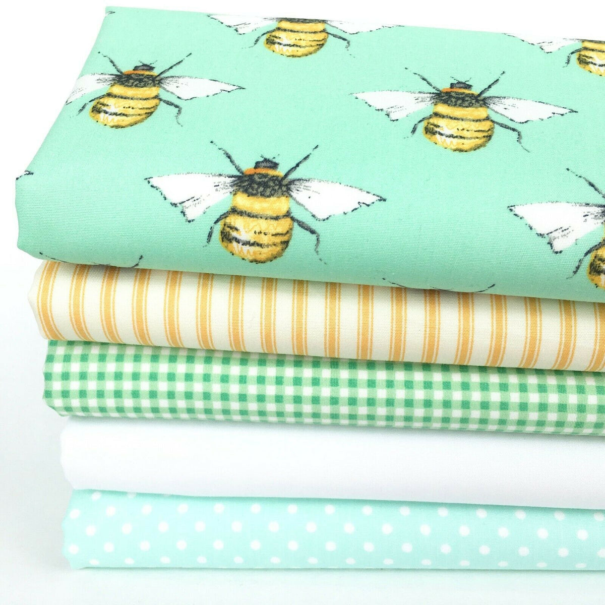 'Busy Bees' 5 piece, fat quarter bundle, 100% cotton fabric, Ideal for patchwork ~
