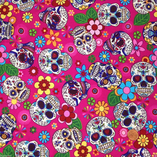 Pink Funky sugar Skulls, Cotton Fabric, sold per half metre, 112cm wide
