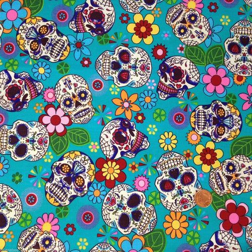 Turquoise Funky sugar Skulls, Cotton Fabric, sold per half metre, 112cm wide