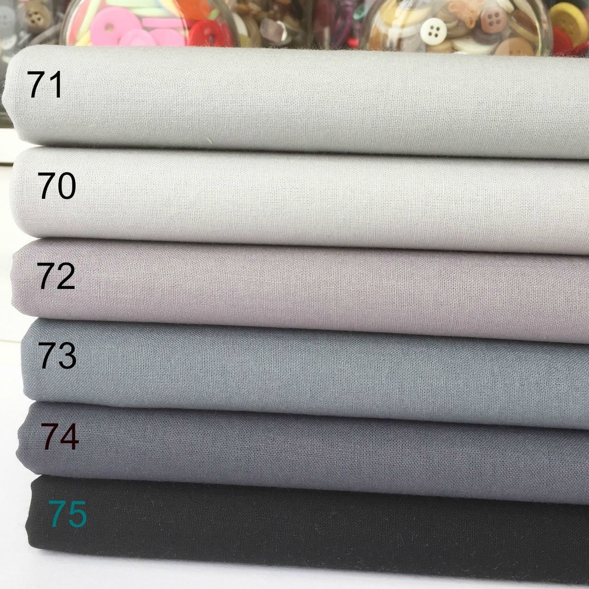 Rainbow Craft, Cotton Fabric grey blenders, by the half metre or 6 piece fabric Oeko Tex standard 100
