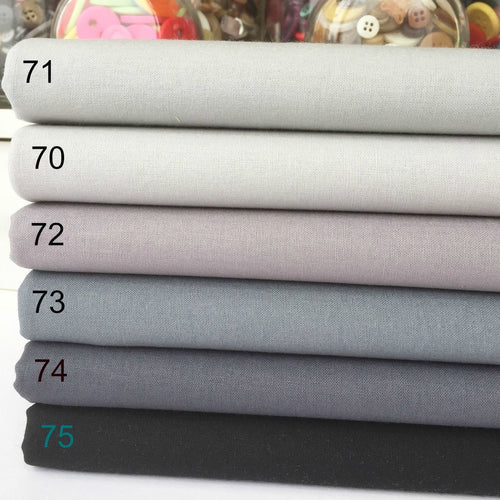 Rainbow Craft, Cotton Fabric grey blenders, by the half metre or 6 piece fabric ~
