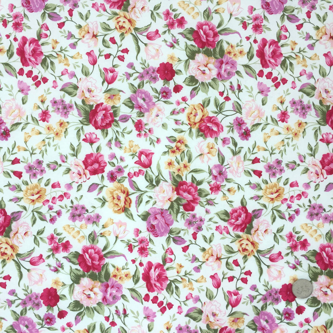Pink Roses Floral 100% Cotton Fabric sold per Half Metre, 112cm wide, Rose & Hubble