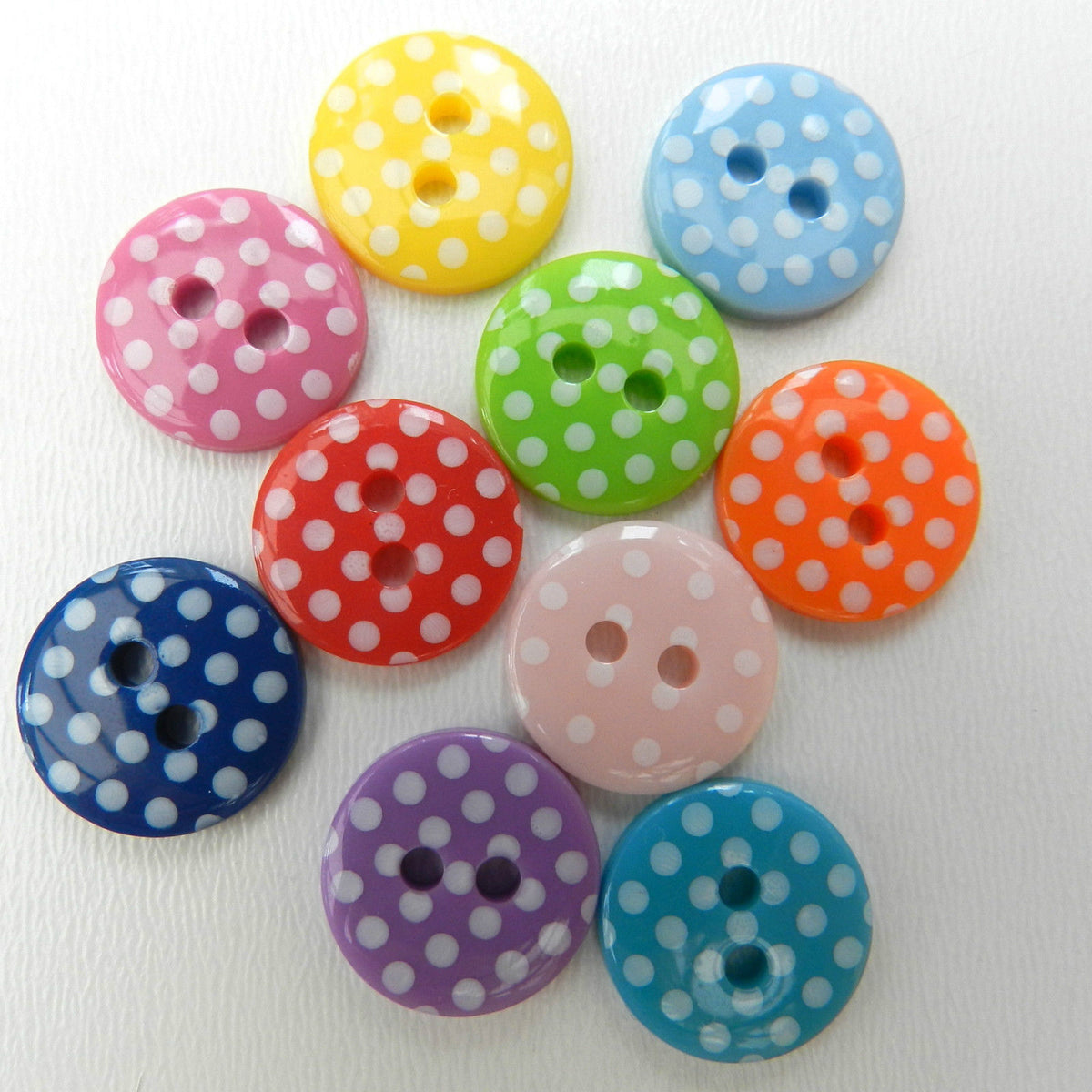 Spotty Round Buttons, seven colours, 15mm diameter, Pack of 10 buttons~