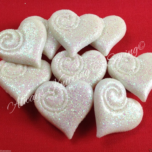 Frosted Love Heart Buttons, White, 20mm widest point, Pack of 5 Buttons ~
