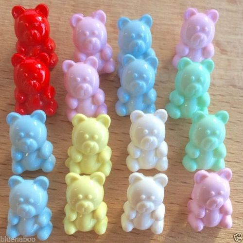 Tiny Teddy Bear Buttons, 15mm x 10mm, shank on back, 6 colours, Pack of 10 ~
