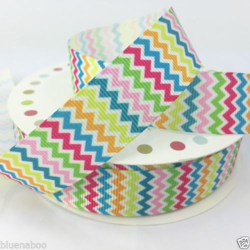 Grosgrain Funky Rainbow Ribbons, stripy, chevrons, stars,  22mm wide, priced per metre ~