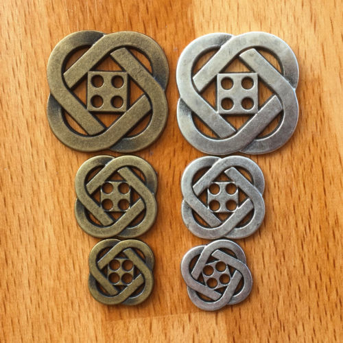 Metal Antique design, Celtic Buttons, 2 sizes, 14mm & 19mm,Antique Silver & Antique Bronze colour period buttons per button~