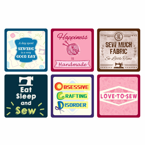 Sewing themed coasters, 6 designs, great stocking filler / gift, sold per 1 coaster