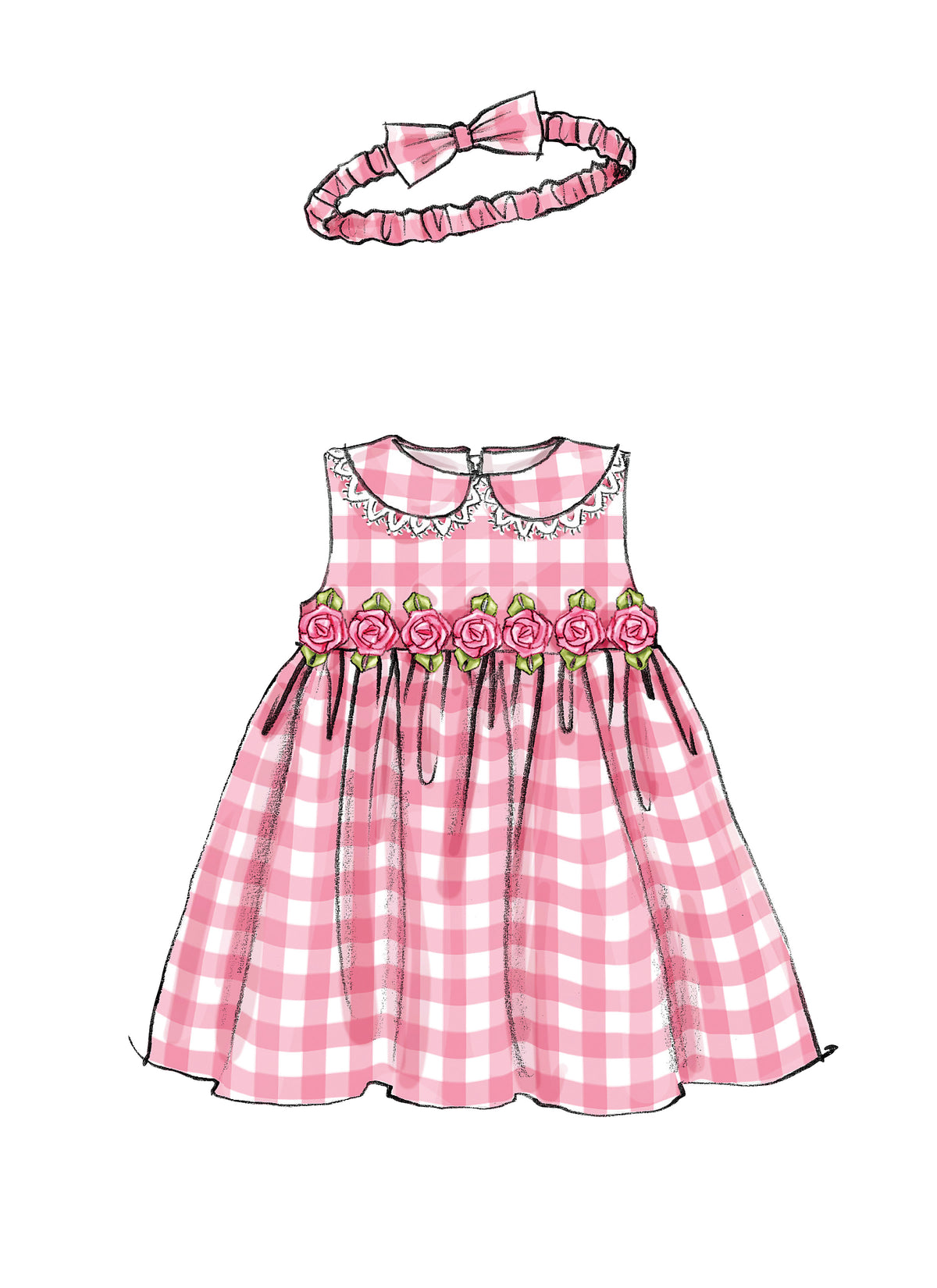 McCalls Sewing Pattern Infants'  Lined Dresses, Panties & Headband