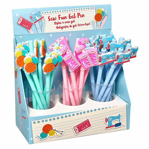 Sew Fun Gel pens, choice of 3 designs wool, ruler or sewing machine