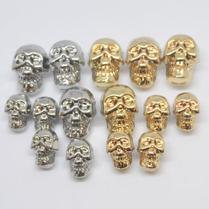 Skull Buttons,  Gold or Silver Colour, 13mm & 18mm, Pack of 5 Buttons ~