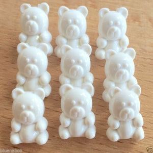 10 X TEDDY BUTTONS-CHOICE OF COLOURS-15MM X 10MM-BABY BUTTONS