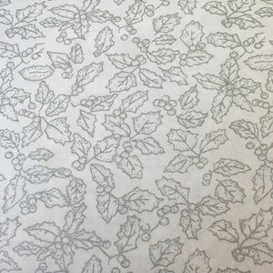 White & silver holly leaf Christmas Fabric 100 % Cotton sold per half metre 110cm wide
