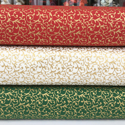 3 piece, Christmas Fat Quarter bundle, Green, red & ivory scroll, 100% cotton fabric