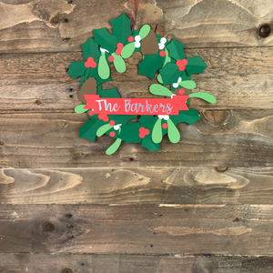 Personalised and eco friendly Christmas wreath craft kit hanging up