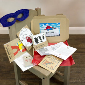 Super boy or girl, eco-friendly craft kit full of games and activities