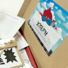 Load image into Gallery viewer, Personalised message label on the super hero packaging