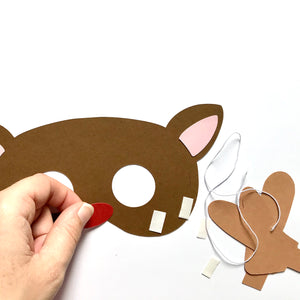 Reindeer Christmas craft mask being made