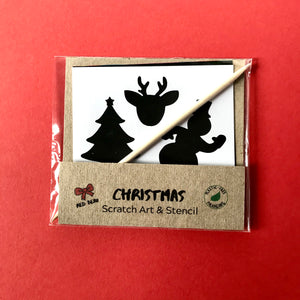 Christmas scratch art set with Christmas stencil