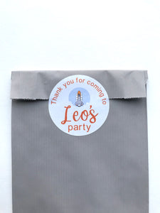 5 Space rocket paper party bags with personalised stickers