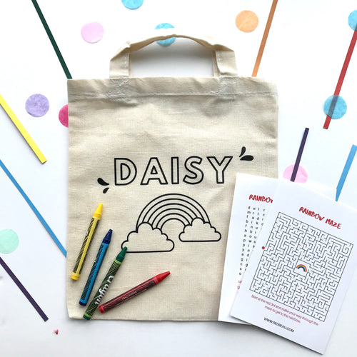 Colour-in Canvas Personalised Rainbow Bag Kit